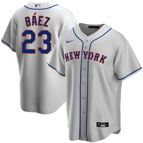 Men's New York Mets #23 Javier Baez Gray Replica Nike Jersey