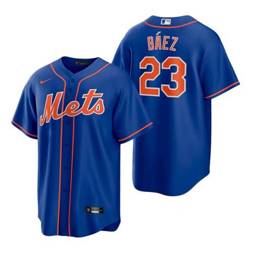 Men's New York Mets #23 Javier Baez Royal Replica Alternate Nike Jersey
