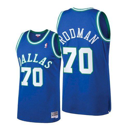 Men's Dallas Mavericks #70 Dennis Rodman Blue Throwback Jersey