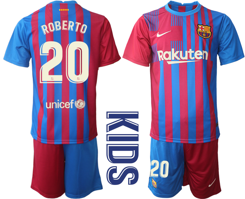 Youth 2021-2022 Club Barcelona home red 20 Nike Soccer Jerseys