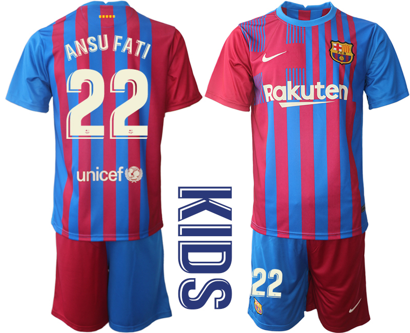 Youth 2021-2022 Club Barcelona home red 22 Nike Soccer Jerseys