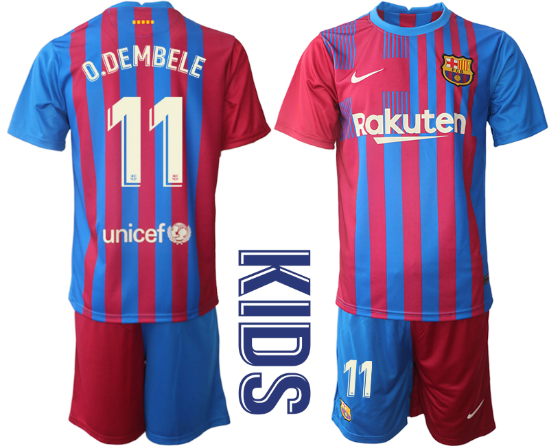 Youth 2021-2022 Club Barcelona home red 11 Nike Soccer Jerseys
