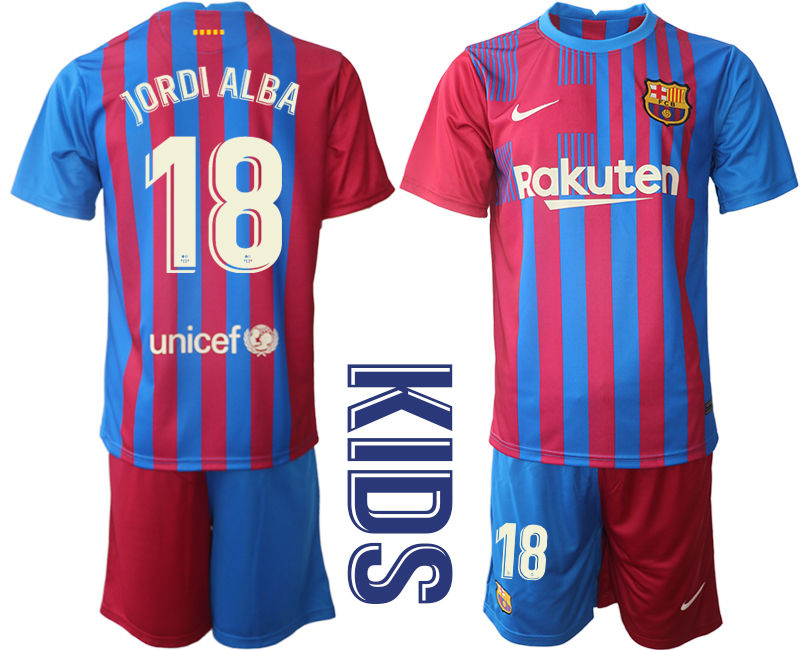 Youth 2021-2022 Club Barcelona home red 18 Nike Soccer Jerseys