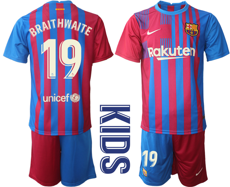 Youth 2021-2022 Club Barcelona home red 19 Nike Soccer Jerseys