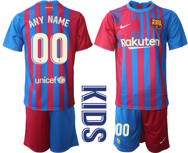 Youth 2021-2022 Club Barcelona home red customized Nike Soccer Jerseys