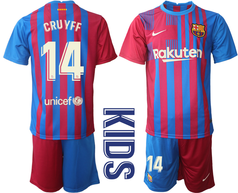 Youth 2021-2022 Club Barcelona home red 14 Nike Soccer Jerseys