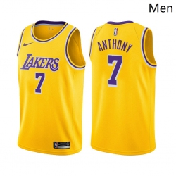 Men Los Angeles Lakers #7 Carmelo Anthony Icon Edition Gold 2021 Stitched NBA Jersey