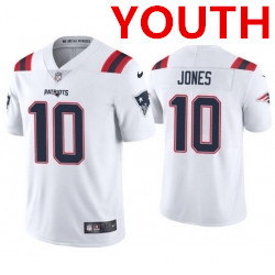 Youth new england patriots #10 mac jones white 2021 vapor limited football jersey