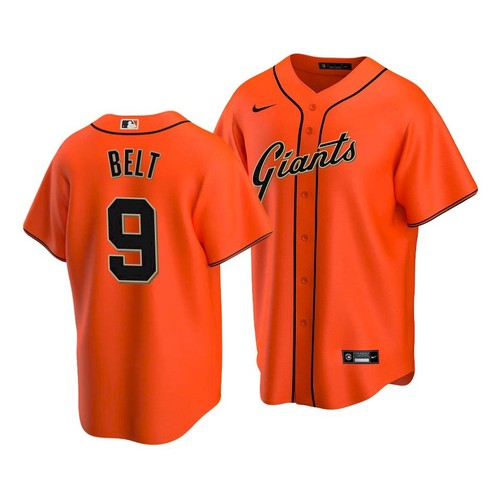 Men's San Francisco Giants #9 Brandon Belt Alternate Orange Jersey