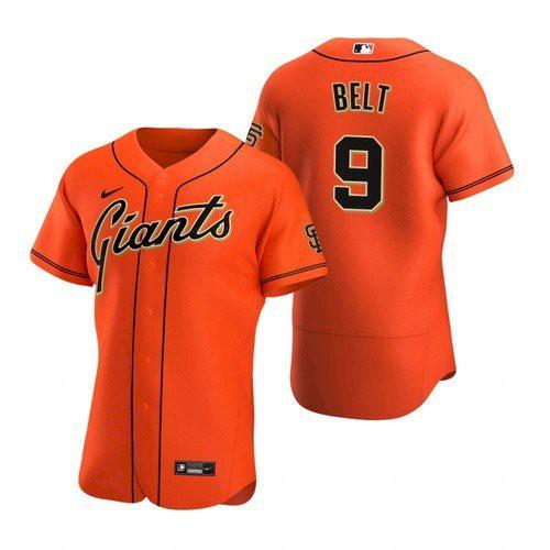 Men's San Francisco Giants #9 Brandon Belt Orange Alternate Jersey