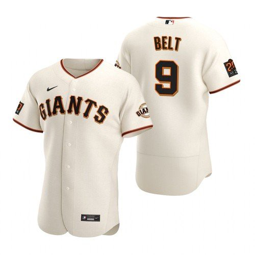 Men's San Francisco Giants #9 Brandon Belt stitched Cream Jersey