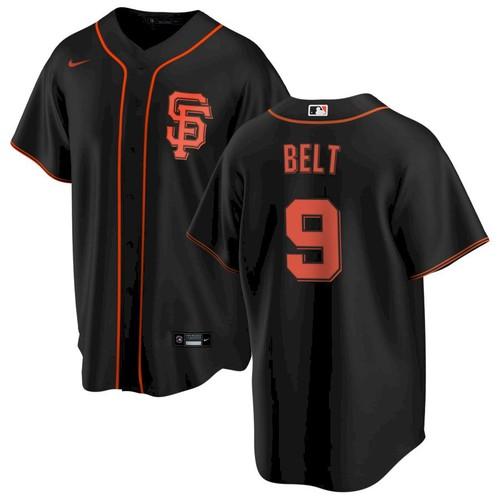 Men's San Francisco Giants #9 Brandon Belt Black Alternate Jersey