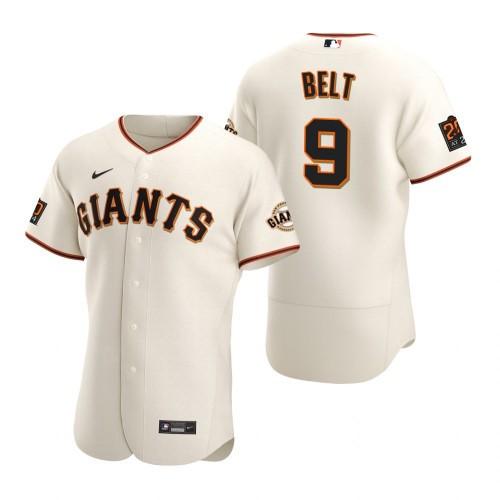 Men's San Francisco Giants #9 Brandon Belt 2020 Baseball Cream Jersey