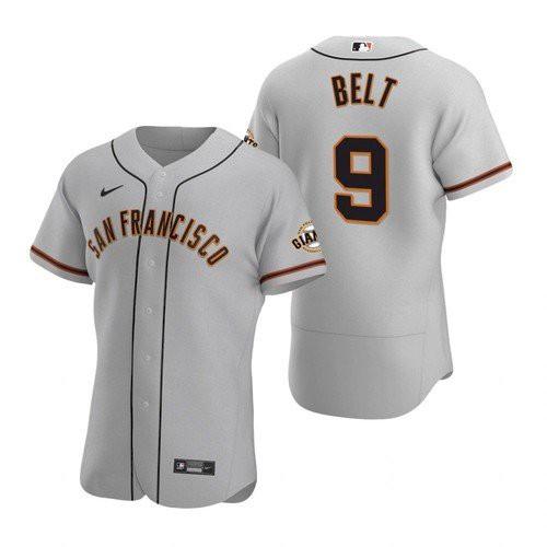 Men's San Francisco Giants #9 Brandon Belt Gray Road Jersey
