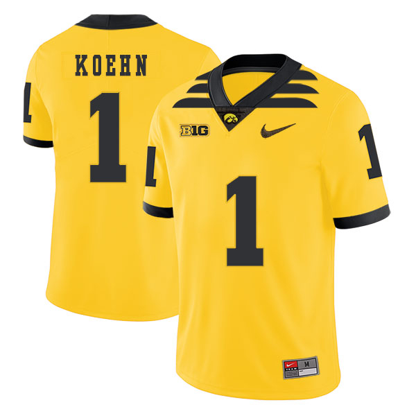 Iowa Hawkeyes 1 Marshall Koehn Pasat Yellow College Football Jersey