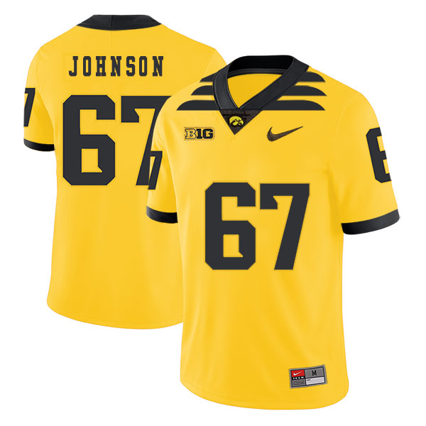 Iowa Hawkeyes 67 Jaleel Johnson Yellow College Football Jersey