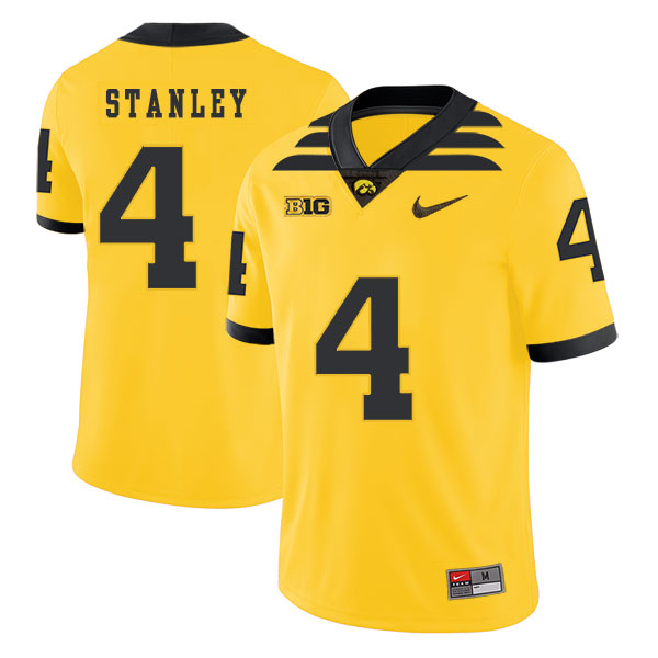 Iowa Hawkeyes 4 Nathan Stanley Yellow College Football Jersey