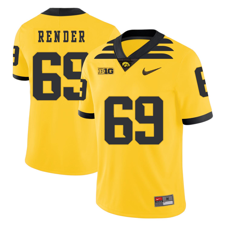 Iowa Hawkeyes 69 Keegan Render Yellow College Football Jersey