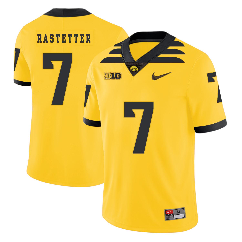 Iowa Hawkeyes 7 Colten Rastetter Yellow College Football Jersey