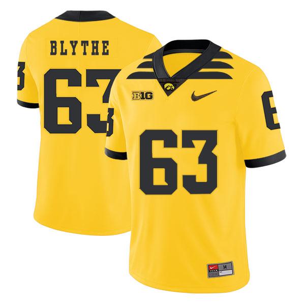 Iowa Hawkeyes 63 Austin Blythe Yellow College Football Jersey