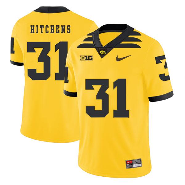 Iowa Hawkeyes 31 Anthony Hitchens Yellow College Football Jersey