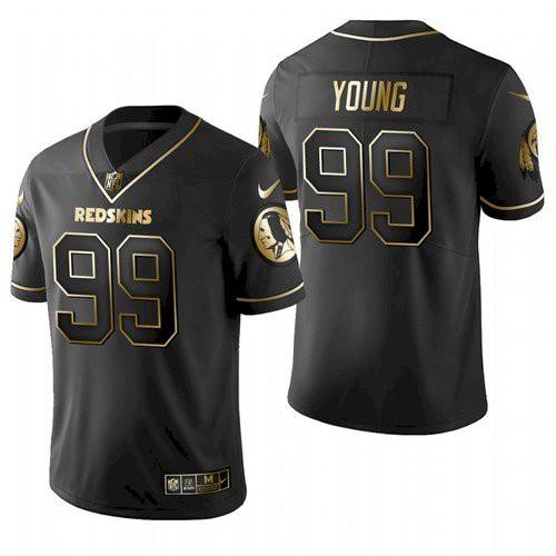 Men Washington Redskins Football Team #99 Chase Young Black Golden Limited Jersey