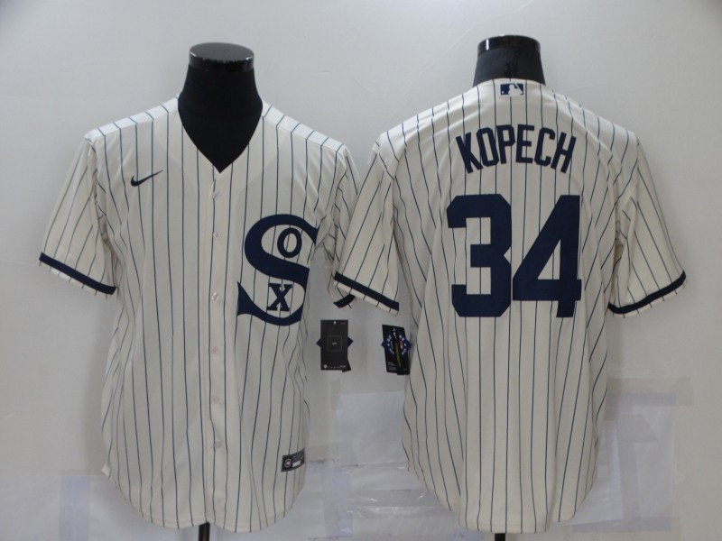 Men's Chicago White Sox #34 Michael Kopech 2021 Cream Field of Dreams Name Cool Base Stitched Nike Jersey