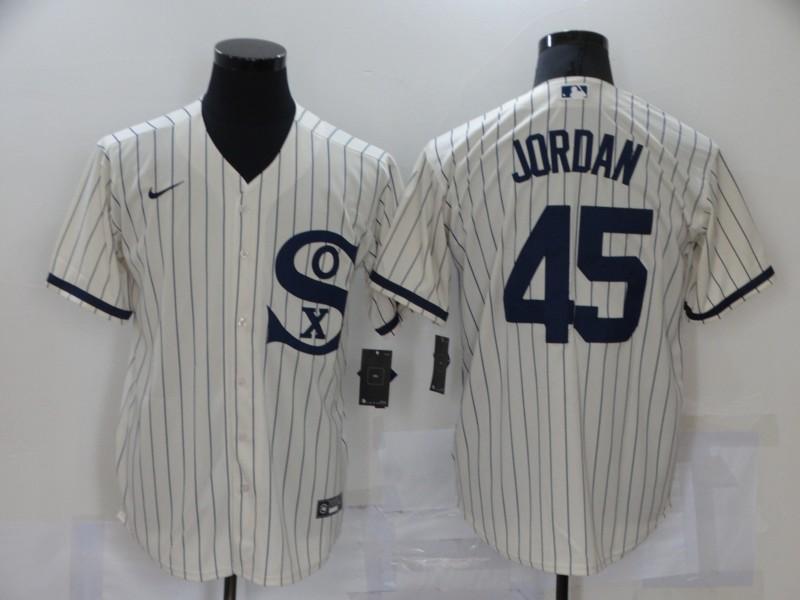 Men's Chicago White Sox #45 Michael Jordan 2021 Cream Navy Field of Dreams Name Flex Base Stitched Jersey