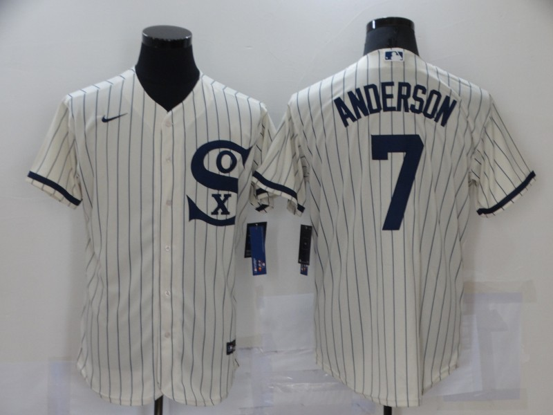 Men's Chicago White Sox #7 Tim Anderson 2021 Cream Navy Field of Dreams Name Flex Base Stitched Jersey