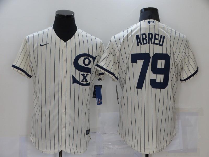 Men's Chicago White Sox #79 Jose Abreu 2021 Cream Navy Field of Dreams Name Flex Base Stitched Jersey