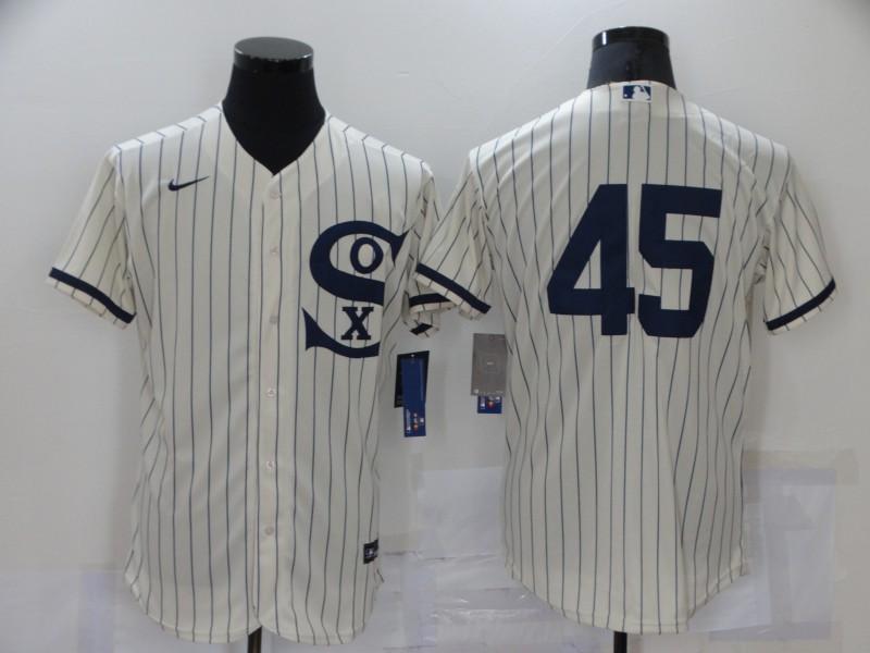 Men's Chicago White Sox #45 Michael Jordan 2021 Cream Navy Field of Dreams Flex Base Stitched Jersey