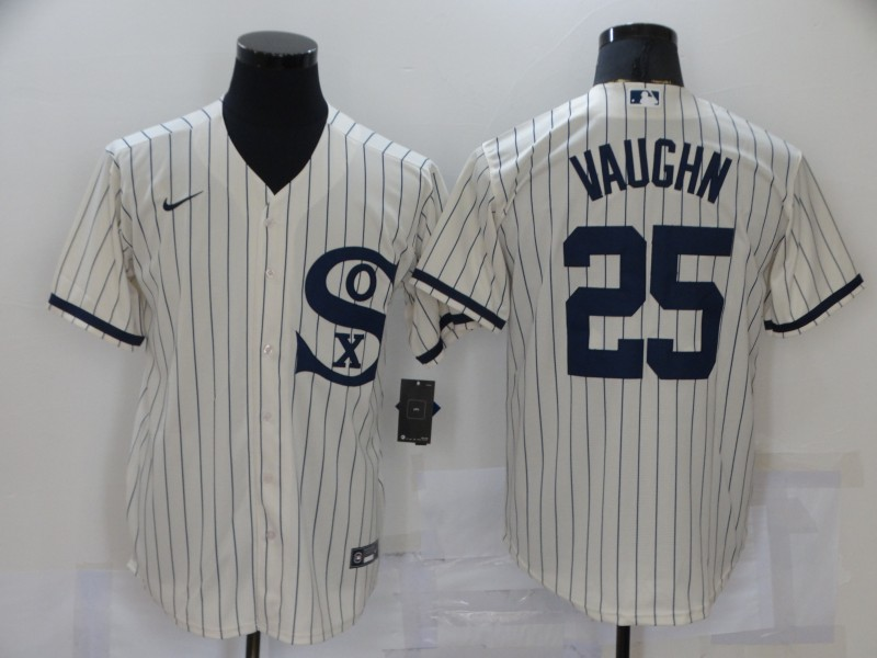 Men's Chicago White Sox #25 Andrew Vaughn 2021 Cream Navy Field of Dreams Name Flex Base Stitched Jersey
