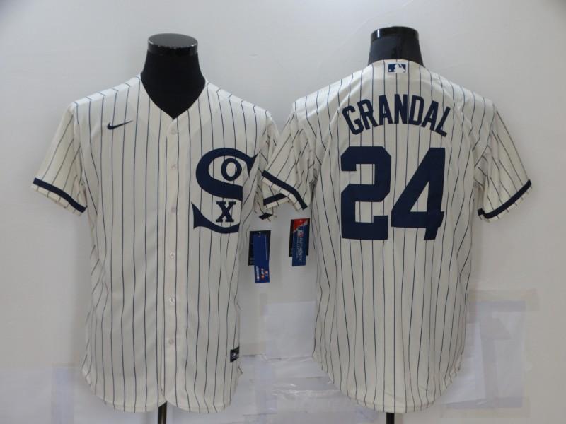 Men's Chicago White Sox #24 Yasmani Grandal 2021 Cream Navy Field of Dreams Name Flex Base Stitched Jersey