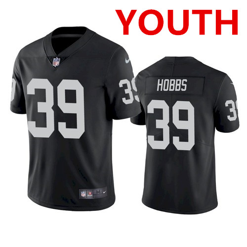 Youth Las Vegas Raiders #39 Nate Hobbs Black Vapor Limited Jersey