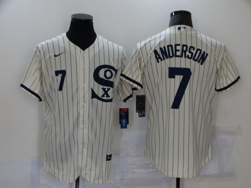 Men's Chicago White Sox #7 Tim Anderson 2021 Cream Navy Field of Dreams Number Flex Base Stitched Jersey