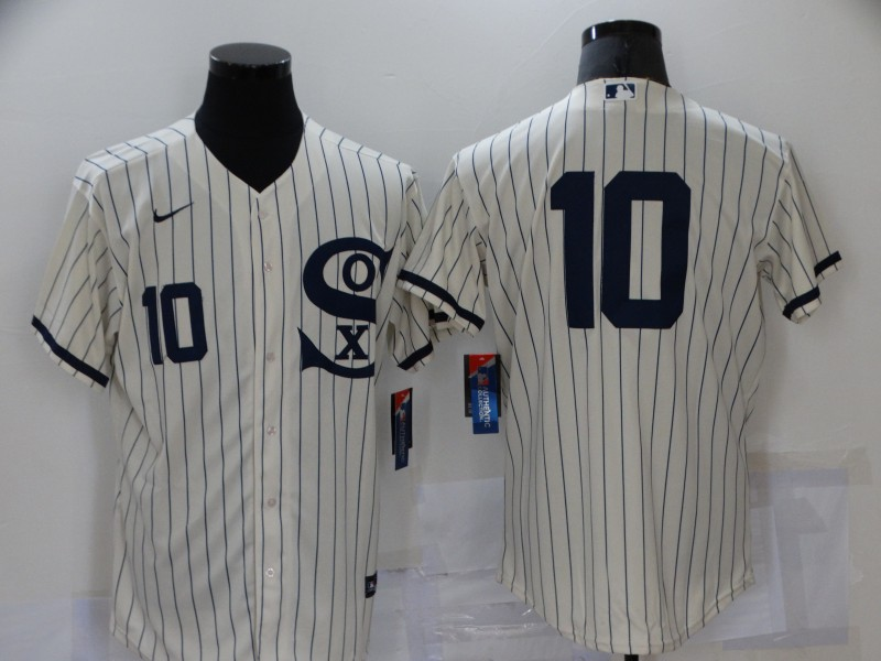 Men's Chicago White Sox #10 Yoan Moncada 2021 Cream Navy Field of Dreams Number Flex Base Stitched Jersey