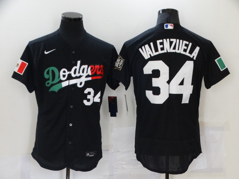 Men's Los Angeles Dodgers #34 Fernando Valenzuela Black Mexico 2020 World Series Flex Base Nike Jersey