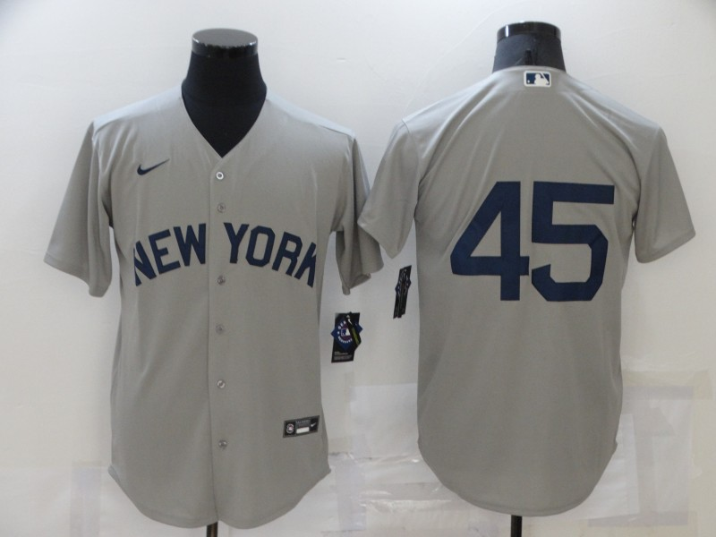 Men's New York Yankees #45 Gerrit Cole 2021 Grey Field of Dreams Cool Base Stitched Baseball Jersey