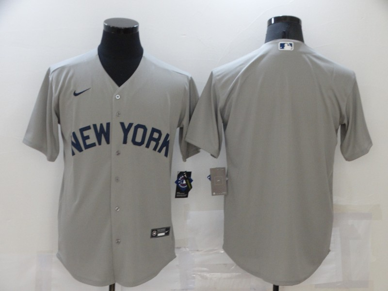 Men's New York Yankees Blank 2021 Grey Field of Dreams Cool Base Stitched Baseball Jersey