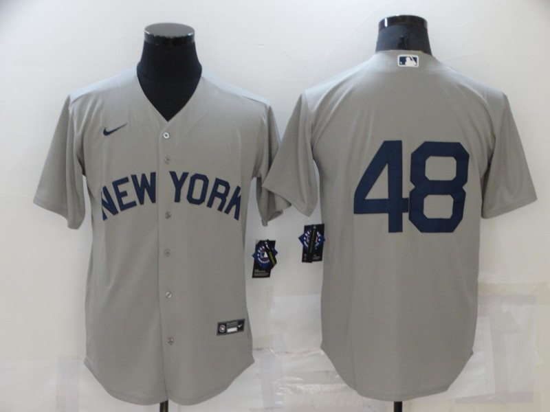 Men's New York Yankees #48 Anthony Rizzo 2021 Grey Field of Dreams Cool Base Stitched Baseball Jersey