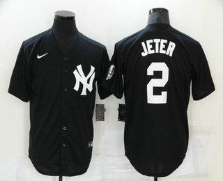Men's New York Yankees #2 Derek Jeter Black Stitched MLB Nike Cool Base Throwback Jersey