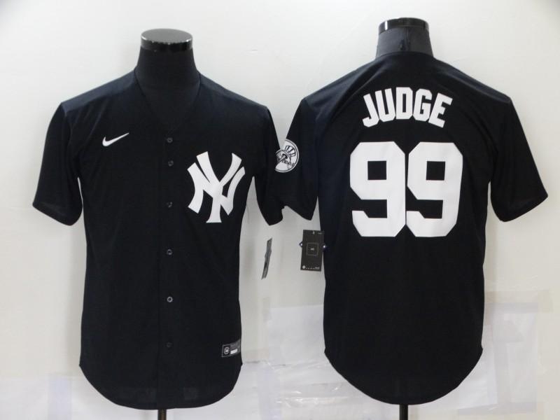 Men's New York Yankees #99 Aaron Judge Black Stitched MLB Nike Cool Base Throwback Jersey