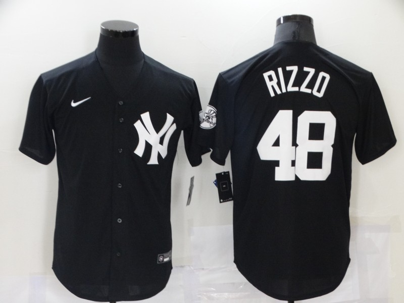 Men's New York Yankees #48 Anthony Rizzo Black Stitched MLB Nike Cool Base Throwback Jersey