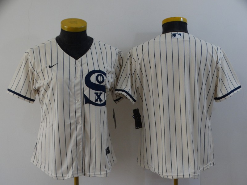 Women's Chicago White Sox Blank 2021 Cream Field of Dreams Cool Base Stitched Nike Jersey