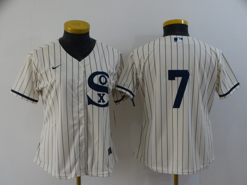 Women's Chicago White Sox #7 Tim Anderson 2021 Cream Field of Dreams Cool Base Stitched Nike Jersey