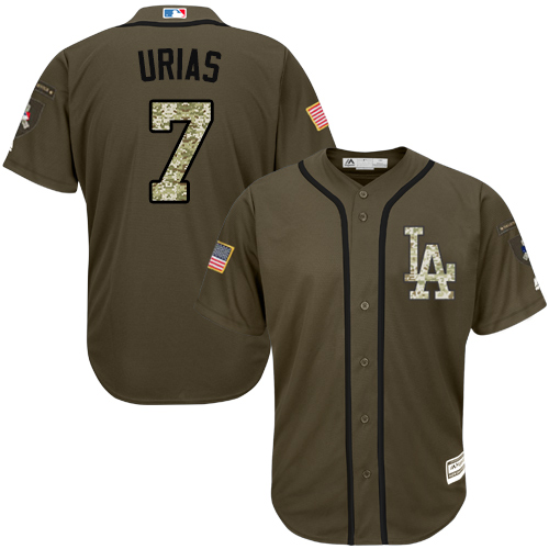Men's Los Angeles Dodgers #7 Julio Urias Green Salute to Service Stitched Baseball Jersey