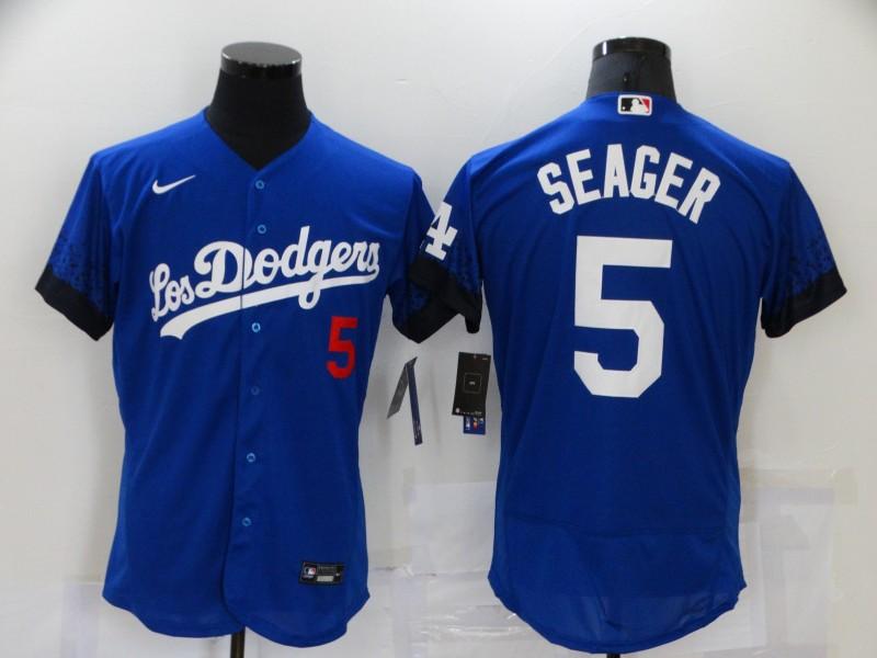 Men's Los Angeles Dodgers #5 Corey Seager Blue 2021 City Connect Flex Base Stitched Jersey