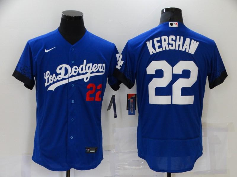 Men's Los Angeles Dodgers #22 Clayton Kershaw Blue 2021 City Connect Flex Base Stitched Jersey