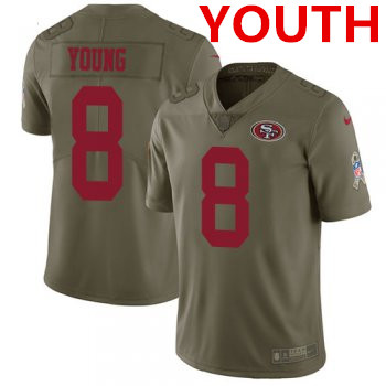 Youth Nike 49ers #8 Steve Young Olive Stitched NFL Limited 2017 Salute to Service Jersey