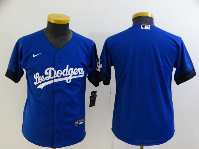Youth Los Angeles Dodgers Blank Blue 2021 City Connect Cool Base Stitched Jersey